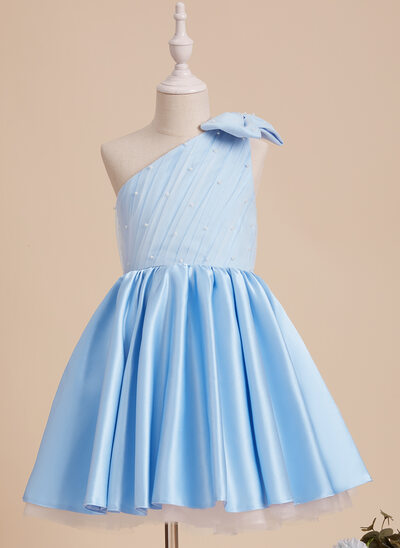 A-Line Knee-length Flower Girl Dress - Satin/Tulle Sleeveless One-Shoulder With Beading/Bow(s)