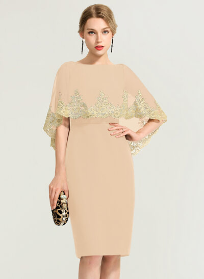 Sheath/Column Scoop Neck Knee-Length Chiffon Cocktail Dress With Lace