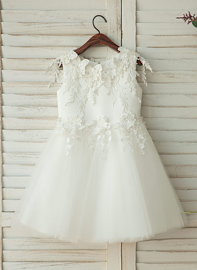 A-Line/Princess Knee-length Flower Girl Dress - Tulle/Lace With Appliques