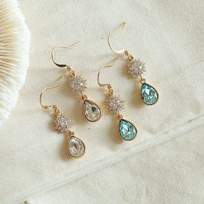 Ladies' Classic Gold Plated/Brass With Pear Cubic Zirconia Earrings For Bridesmaid/For Mother