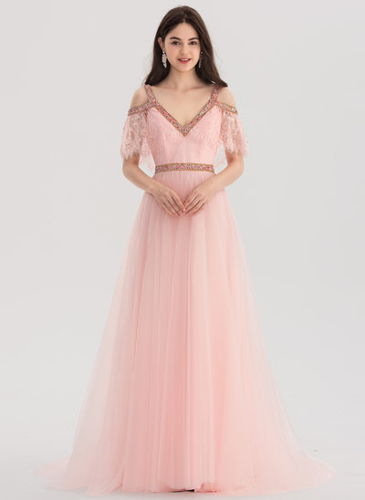 A-Line/Princess V-neck Sweep Train Lace Prom Dresses With Beading
