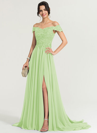 A-Line/Princess Off-the-Shoulder Sweep Train Chiffon Evening Dress With Sequins Split Front