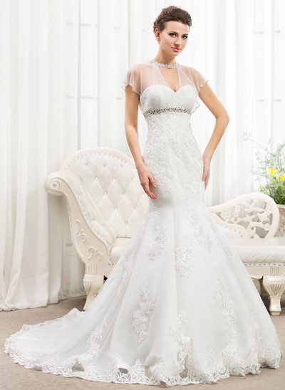 Trumpet/Mermaid Scoop Neck Cathedral Train Lace Wedding Dress With Ruffle Beading Appliques Lace Sequins