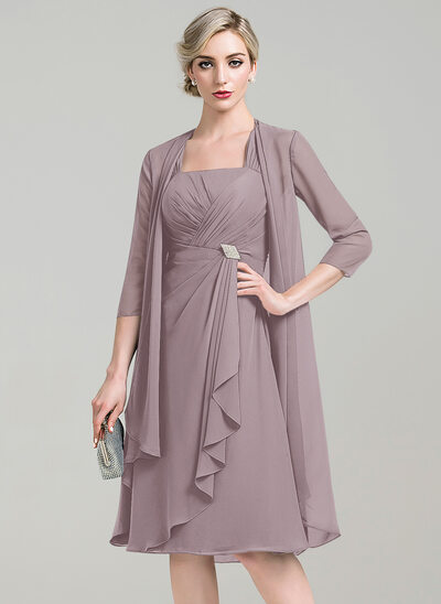 A-Line Square Neckline Knee-Length Chiffon Mother of the Bride Dress With Crystal Brooch Cascading Ruffles
