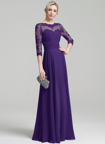 A-Line Scoop Neck Floor-Length Chiffon Mother of the Bride Dress With Ruffle Appliques Lace Sequins