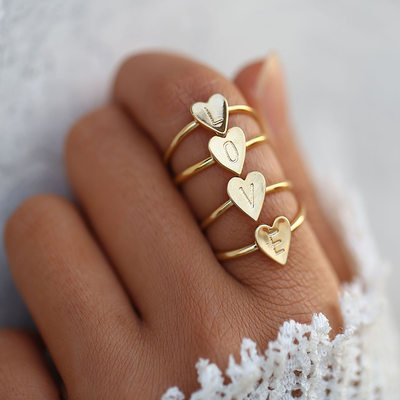 Unique Alloy Initial Rings Rings For Bridesmaid