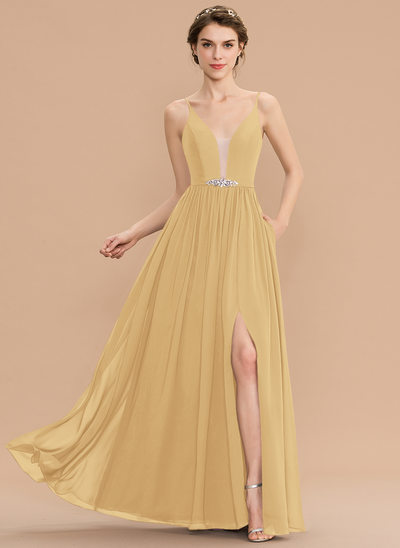 A-Line V-neck Floor-Length Chiffon Bridesmaid Dress With Beading Sequins Split Front Pockets