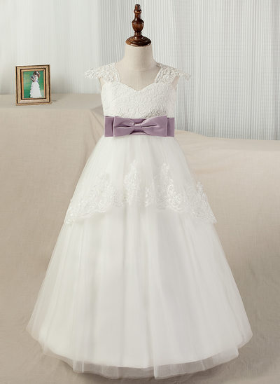 Ball Gown Sweep Train Flower Girl Dress - Satin/Tulle/Lace Straps With Sash/Appliques