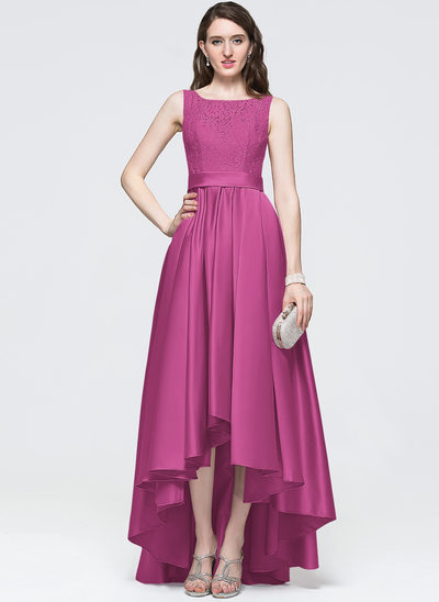 A-Line/Princess Scoop Neck Asymmetrical Satin Prom Dresses With Bow(s)