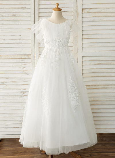 A-Line Floor-length Flower Girl Dress - Tulle/Lace Sleeveless Scoop Neck