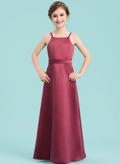 A-Line Floor-length Flower Girl Dress - Satin Sleeveless Square Neckline With Bow(s)