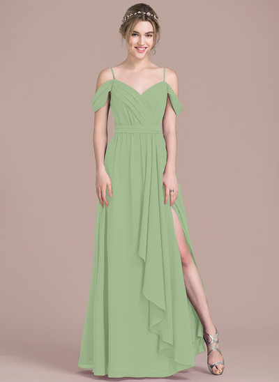 A-Line V-neck Floor-Length Chiffon Prom Dresses With Bow(s) Split Front Cascading Ruffles