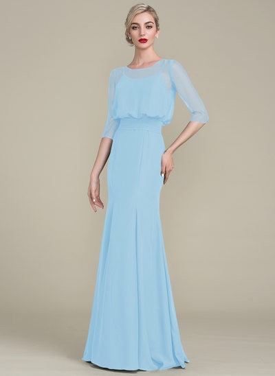 Trumpet/Mermaid Scoop Neck Floor-Length Chiffon Evening Dress With Ruffle