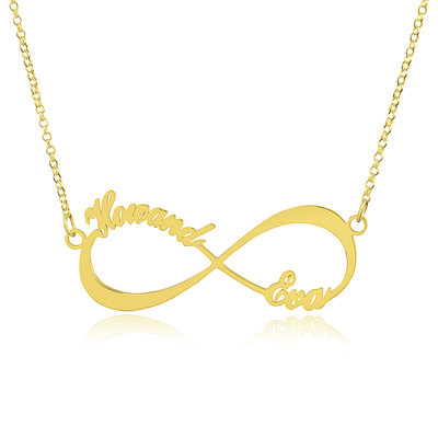 Custom 18k Gold Plated Silver Infinity Two Name Necklace Infinity Name Necklace - Christmas Gifts