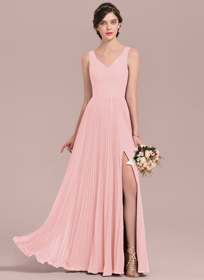 A-Line/Princess V-neck Floor-Length Chiffon Bridesmaid Dress With Split Front Pleated