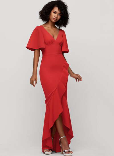 Trumpet/Mermaid V-neck Asymmetrical Stretch Crepe Evening Dress With Bow(s)