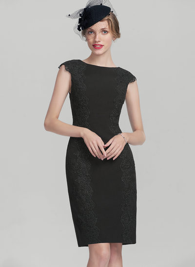 Sheath/Column Scoop Neck Knee-Length Satin Mother of the Bride Dress With Appliques Lace
