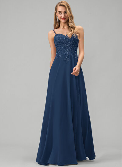 A-Line Sweetheart Floor-Length Chiffon Prom Dresses With Lace Beading