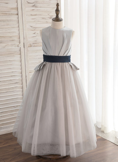 A-Line/Princess Ankle-length Flower Girl Dress - Satin/Tulle Sleeveless Scoop Neck With Sash/Pleated (Undetachable sash)