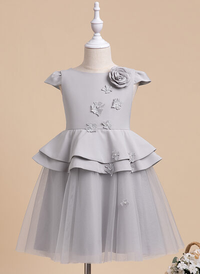 A-Line Knee-length Flower Girl Dress - Short Sleeves Scalloped Neck With Beading/Flower(s)