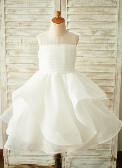 431fed00a3b Ball-Gown Princess Knee-length Flower Girl Dress - Organza Sleeveless Scoop  Neck