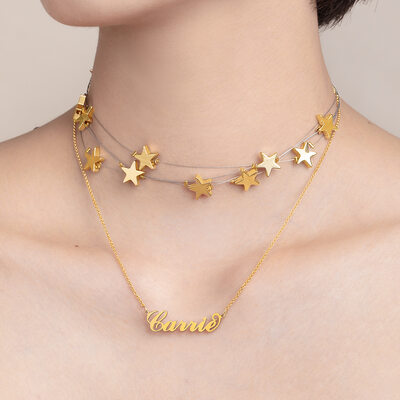 Christmas Gifts For Her - Custom 18k Gold Plated Star Carrie Name Necklace With Star (Set of 2)