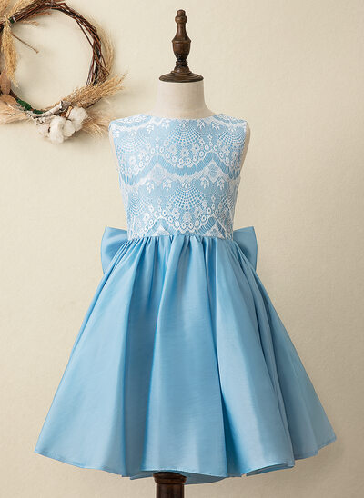 A-Line Knee-length Flower Girl Dress - Taffeta/Lace Sleeveless Scoop Neck With Bow(s)