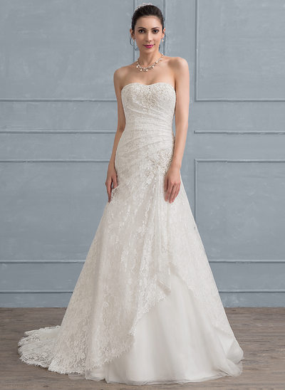 A-Line/Princess Sweetheart Sweep Train Tulle Lace Wedding Dress With Ruffle Beading Sequins
