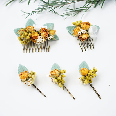 Ladies Special Silk Flower Combs & Barrettes (Set of 5)
