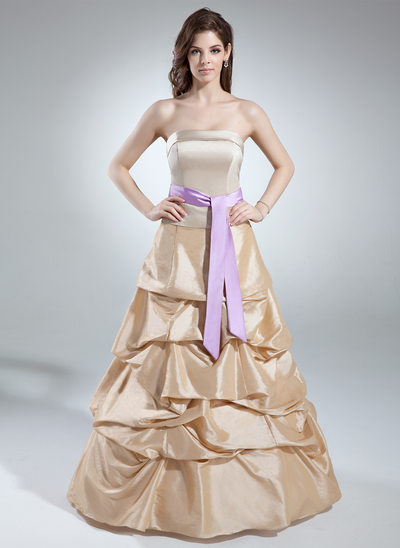 A-Line/Princess Strapless Floor-Length Taffeta Quinceanera Dress With Ruffle Sash