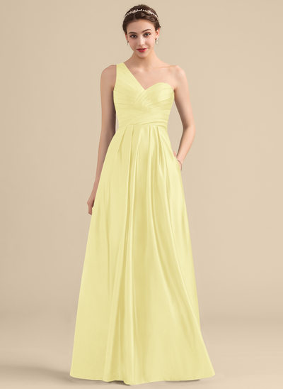 A-Line/Princess One-Shoulder Floor-Length Satin Bridesmaid Dress With Ruffle Pockets