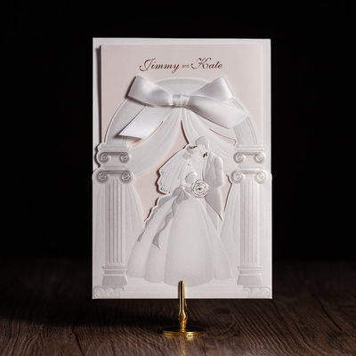 Personalized Bride & Groom Style Wrap & Pocket Invitation Cards With Bows