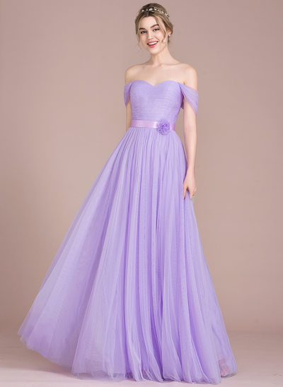 A-Line/Princess Off-the-Shoulder Floor-Length Tulle Prom Dresses With Ruffle Flower(s)