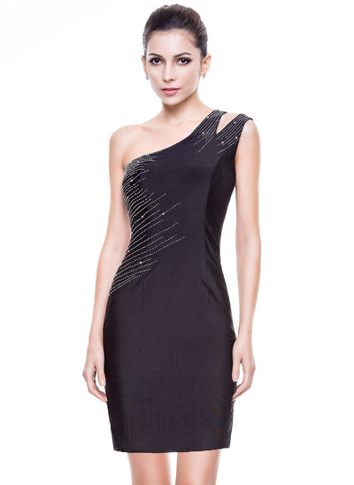 Sheath/Column One-Shoulder Short/Mini Jersey Cocktail Dress With Beading