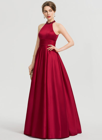 Ball-Gown/Princess Scoop Neck Floor-Length Satin Prom Dresses With Ruffle Beading Sequins
