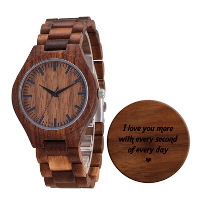 Groomsmen Gifts - Personalized Mens Custom Engraved Walnut Watches