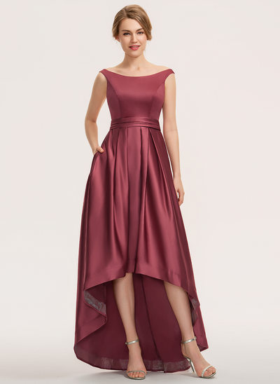 A-Line Off-the-Shoulder Asymmetrical Satin Bridesmaid Dress With Ruffle Pockets