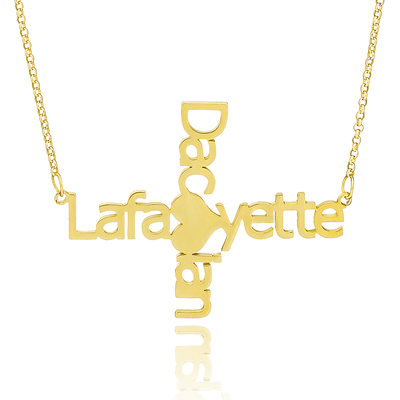 Custom 18k Gold Plated Silver Cross Two Name Necklace With Heart - Christmas Gifts