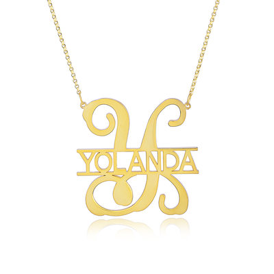 Christmas Gifts For Her - Custom 18k Gold Plated Silver Monogram Initial Name Necklace