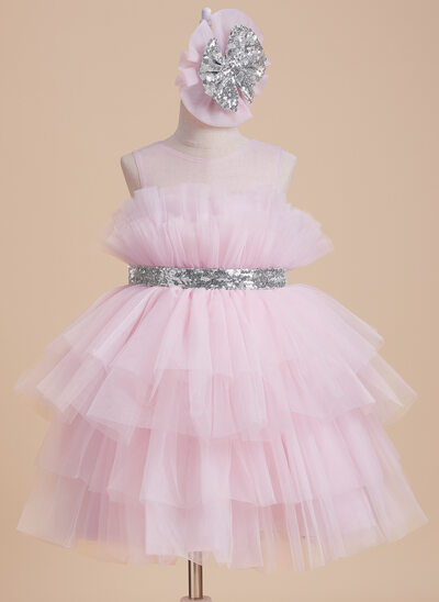 Ball-Gown/Princess Knee-length Flower Girl Dress - Tulle Sleeveless Scoop Neck With Sequins/Bow(s)