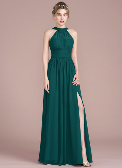 A-Line/Princess Scoop Neck Floor-Length Chiffon Prom Dresses With Ruffle Bow(s) Split Front