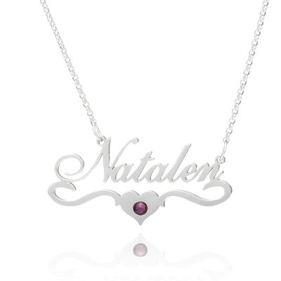 Custom Sterling Silver Name Necklace Birthstone Necklace Nameplate With Kids Names