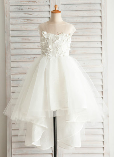 A-Line/Princess Asymmetrical Flower Girl Dress - Satin/Tulle/Cotton Sleeveless Bateau With Appliques/V Back
