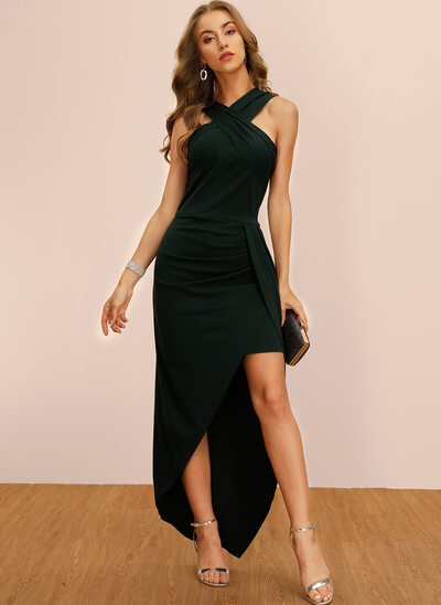 Sheath/Column V-neck Asymmetrical Cocktail Dress