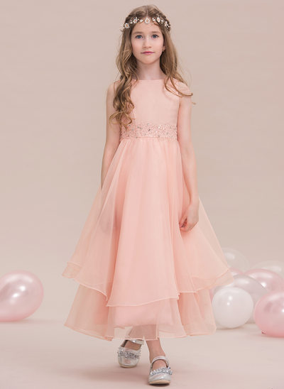 A-Line/Princess Scoop Neck Ankle-Length Organza Junior Bridesmaid Dress With Beading Sequins