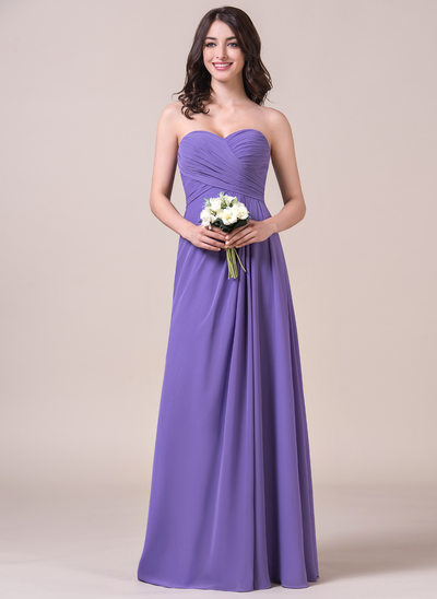 Chiffon Floor-length Sweetheart Side Ruched Bridesmaid Dress