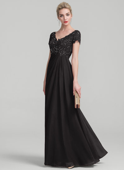 A-Line V-neck Floor-Length Chiffon Lace Evening Dress With Ruffle Beading