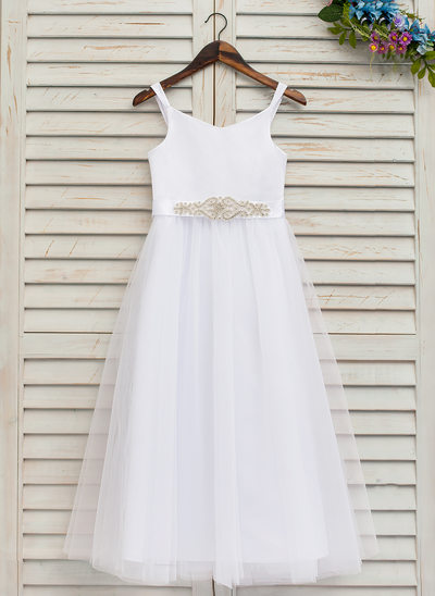 A-Line/Princess Ankle-length Flower Girl Dress - Satin/Tulle Sleeveless Straps With Rhinestone (Detachable sash)