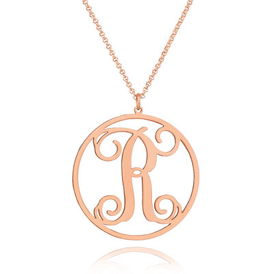 Christmas Gifts For Her - Custom 18k Rose Gold Plated Silver Vintage Hollow Carved Initial Necklace Circle Necklace