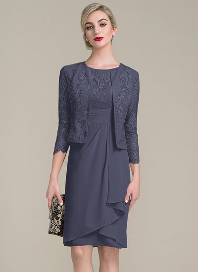 Sheath/Column Scoop Neck Knee-Length Chiffon Lace Mother of the Bride Dress With Cascading Ruffles